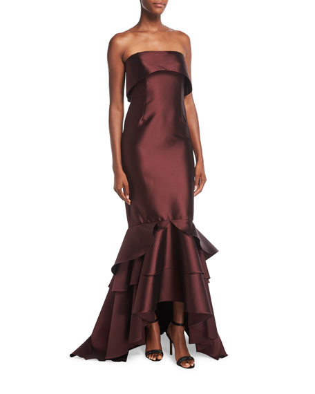Sachin & Babi Patina Strapless Trumpet Evening Gown