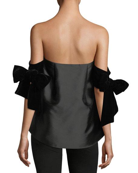Benita Strapless Velvet-Sleeves Cocktail Blouse