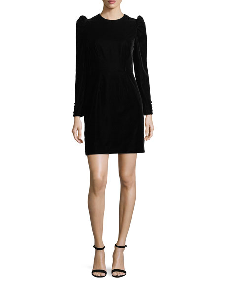 Jill Jill Stuart Long-Sleeve Puff-Sleeve Velvet Sheath Cocktail