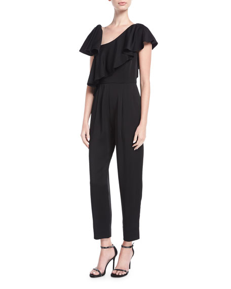 Asymmetric Ruffled Overlay Straight-Leg Jumpsuit