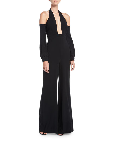 Plunging Halter Cold-Shoulder Crepe Jumpsuit