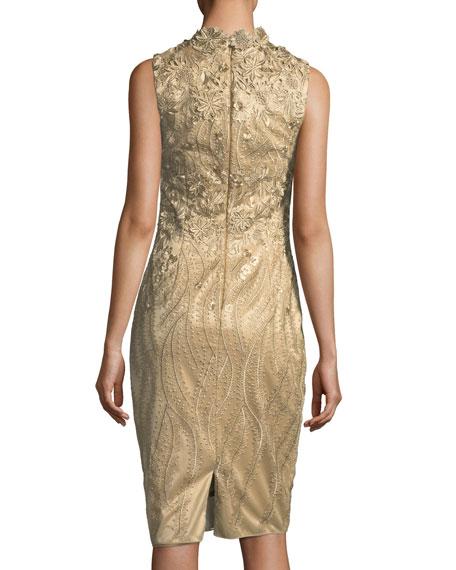 Sleeveless Metallic Cocktail Sheath Dress w/ 3D Floral Appliqué