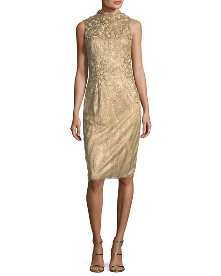 Sleeveless Metallic Cocktail Sheath Dress w/ 3D Floral Appliqué