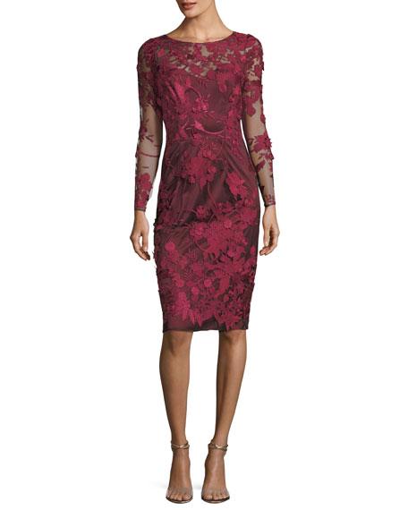 3D Floral Long-Sleeve Illusion Cocktail Dress