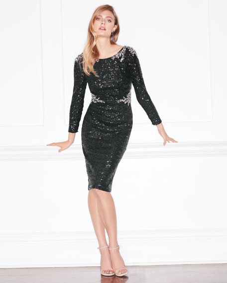 Two-Tone Sequin Sheath Cocktail Dress