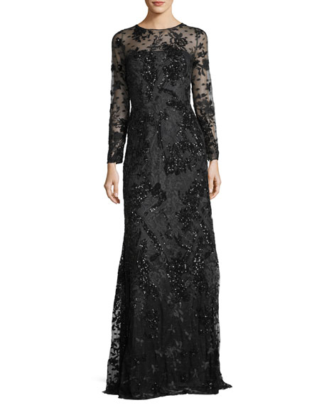 David Meister Long-Sleeve Sequined Lace-Yoke Evening Gown