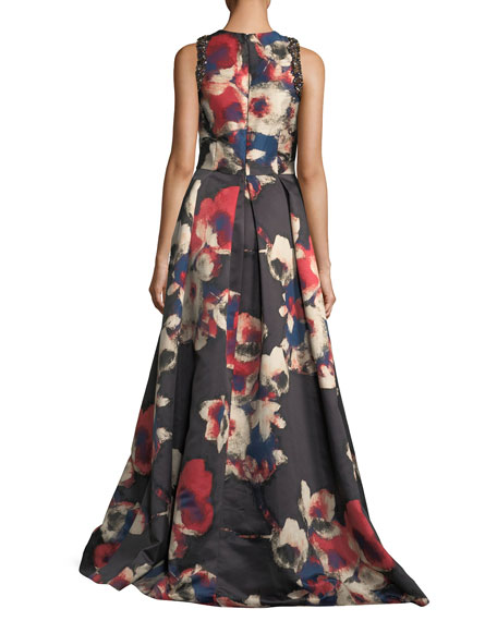 Sleeveless Floral-Printed Evening Gown w/ Jewel Embellishments