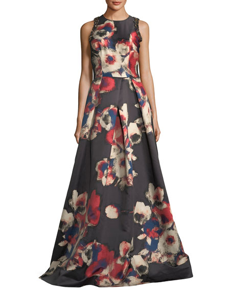 David Meister Sleeveless Floral-Printed Evening Gown w/ Jewel