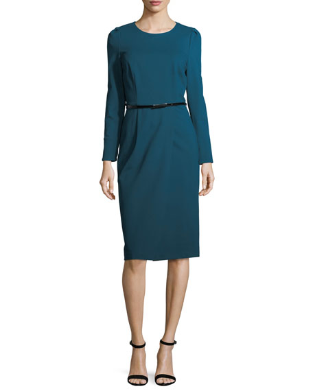 Long-Sleeve Belted Ponte Cocktail Dress