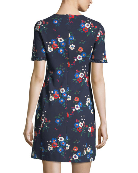 Miranda Short-Sleeve Pansy Bouquet Ponte Shirtdress
