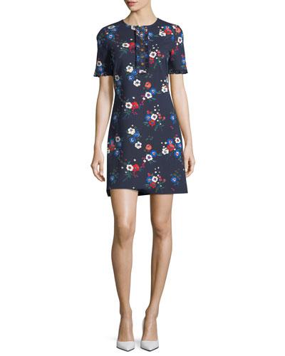 Miranda Short-Sleeve Pansy Bouquet Ponte Shirtdress