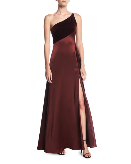 Jill Jill Stuart One-Shoulder Sleeveless Silk-Velvet Slip Evening
