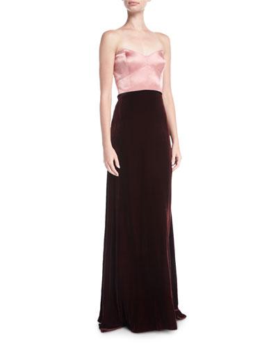 Strapless Two-Tone Silk Velvet Column Evening Gown