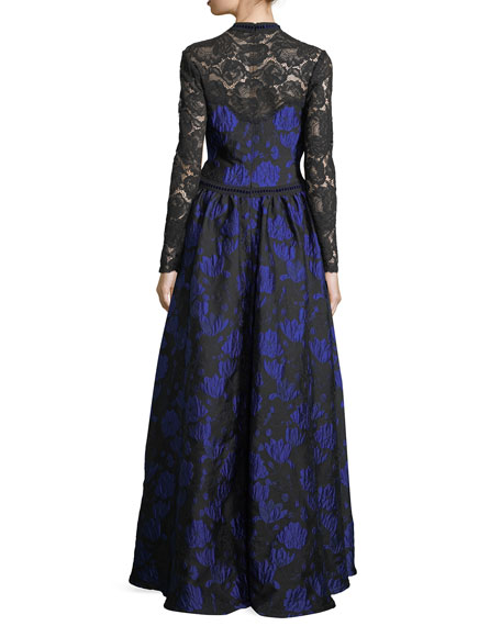 Long-Sleeve Lace-Yoke Floral Brocade Ball Gown