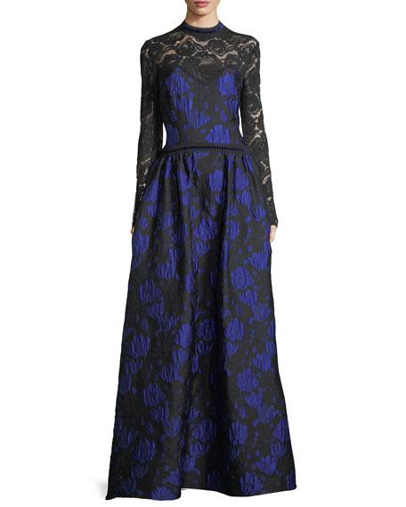 Tadashi Shoji Long-Sleeve Lace-Yoke Floral Brocade Ball Gown