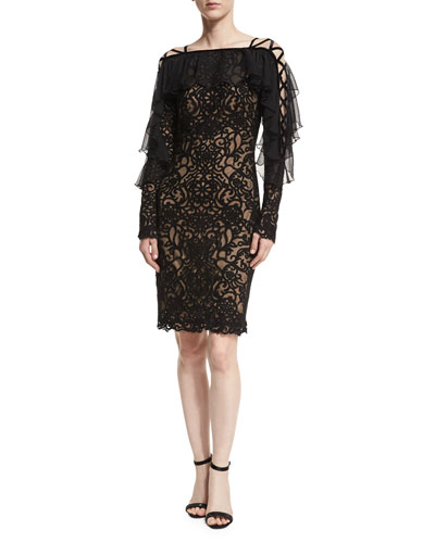 Lace-Up Sleeve Embroidered Cocktail Dress w/ Ruffle Popover