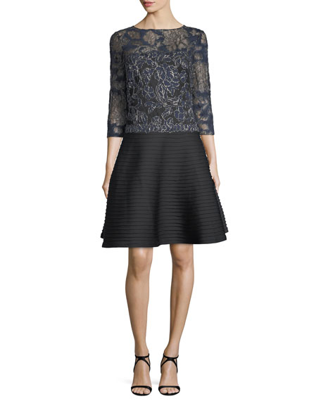 3/4-Sleeve Corded Lace Cocktail Dress w/ Pintuck Skirt