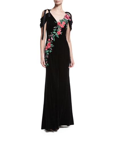 Cold-Shoulder Velvet Evening Gown w/ Floral Appliqué
