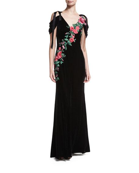 Tadashi Shoji Cold-Shoulder Velvet Evening Gown w/ Floral