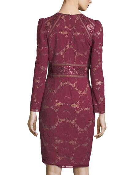 Long-Sleeve Lace Cocktail Dress w/ Sequin Trim