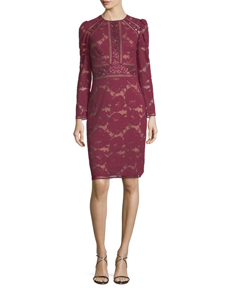 Tadashi shoji long sleeve lace cocktail dress w sequin for Neiman marcus dresses for wedding guest