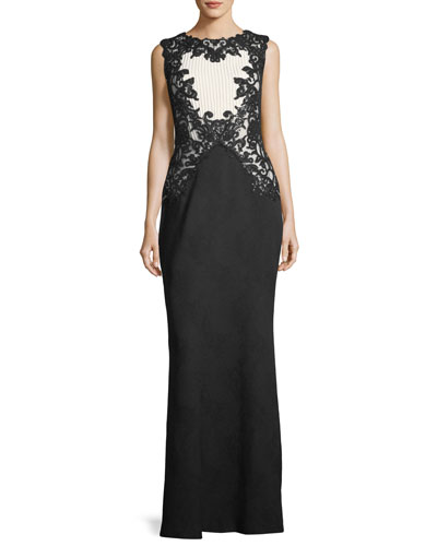 Sleeveless High-Neck Textured Crepe Evening Gown w/ Sequins