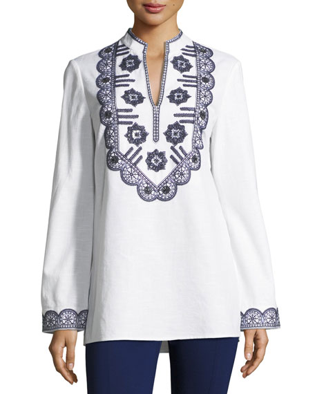 Tory Burch Long-Sleeve Richa Embroidered Tory Tunic