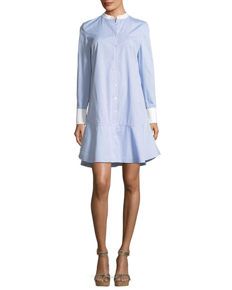 Tory Burch Cora Ombre Striped Cotton Voile Shirtdress