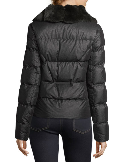 Shiny Quilted Puffer Logo Patch Jacket w/ Fur Trim
