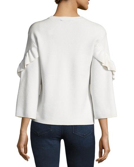 Ashley Ribbed Ruffle-Sleeve Sweater