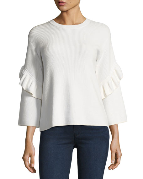 Tory Burch Ashley Ribbed Ruffle-Sleeve Sweater