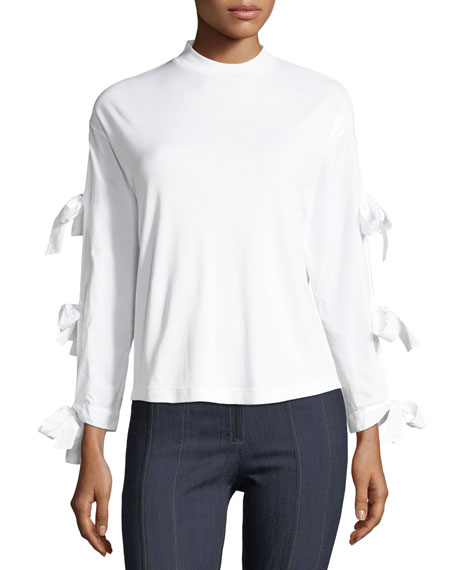 Tory Burch Emilia Long Tie-Sleeve Poplin Top