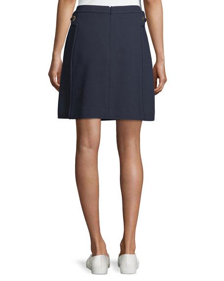 Double-Weave A-Line Skirt w/ Grommet Trim