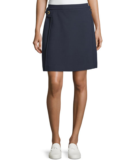 Tory Burch Double-Weave A-Line Skirt w/ Grommet Trim