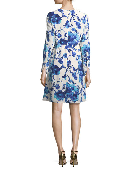 Giovanna Long-Sleeve Lili Floral Silk Dress