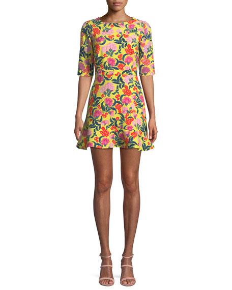 Saloni Celia-C Elbow-Sleeve Printed Mini Dress