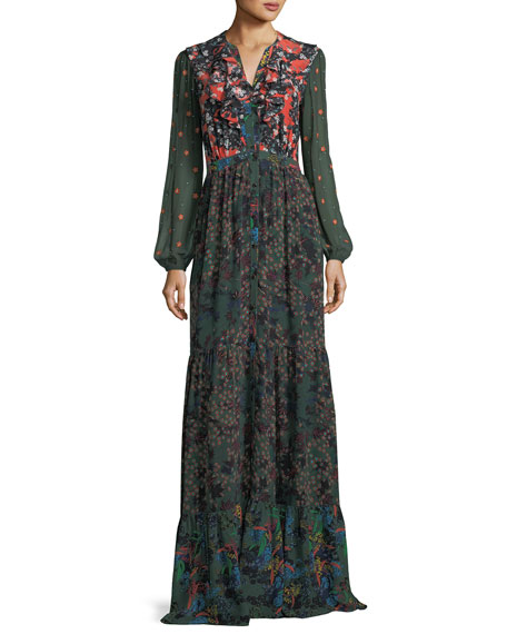 Saloni Ginny Floral-Print Button-Front Silk Maxi Dress