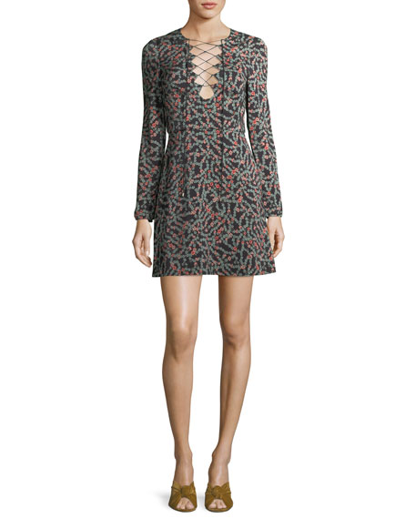 Saloni Nurul Floral-Print Lace-Up Mini Dress