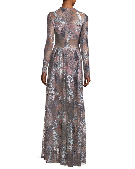 Jeslyn Long-Sleeve Floral Illusion Maxi Dress