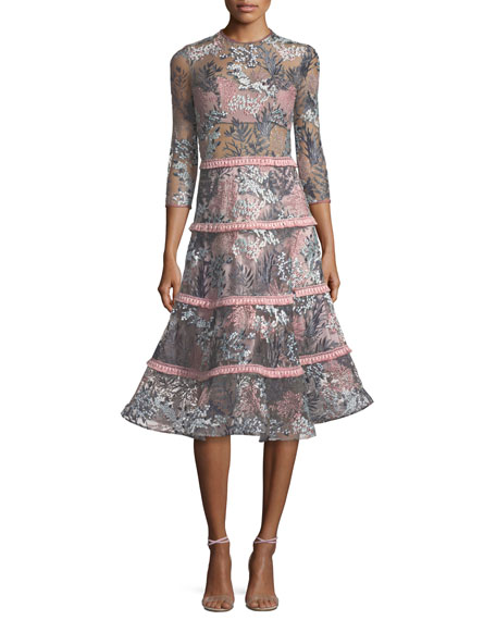 Alexis Ruth Embroidered Long-Sleeve Illusion Cocktail Dress