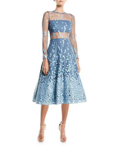 Aliza Embroidered Illusion Fit & Flare Dress