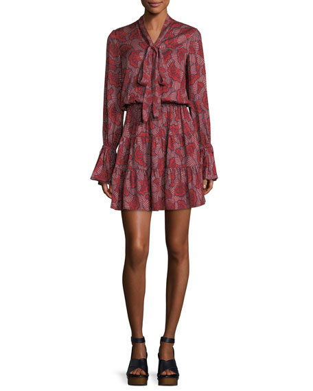 Alexis Elizavetta Long-Sleeve Printed Mini Dress