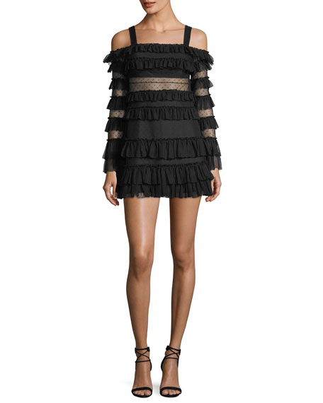 Alexis Brandi Off-the-Shoulder Tiered Ruffled Mini Dress