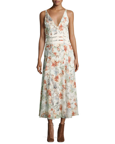 Haute Hippie Heliopolis Sleeveless A-Line Floral-Print Dress w/