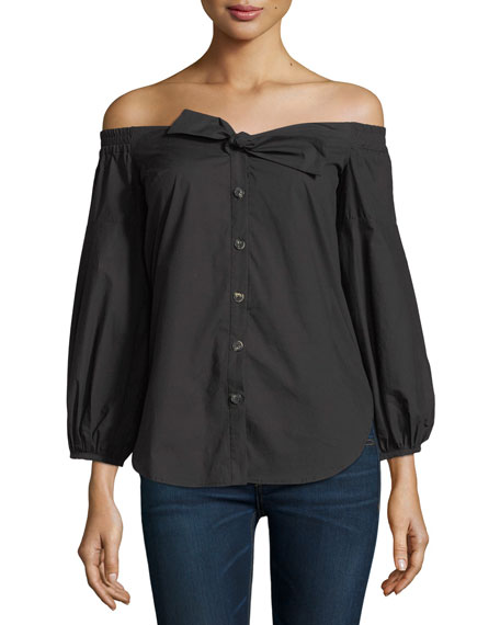Saloni Madison Off-the-Shoulder Button-Front Poplin Top