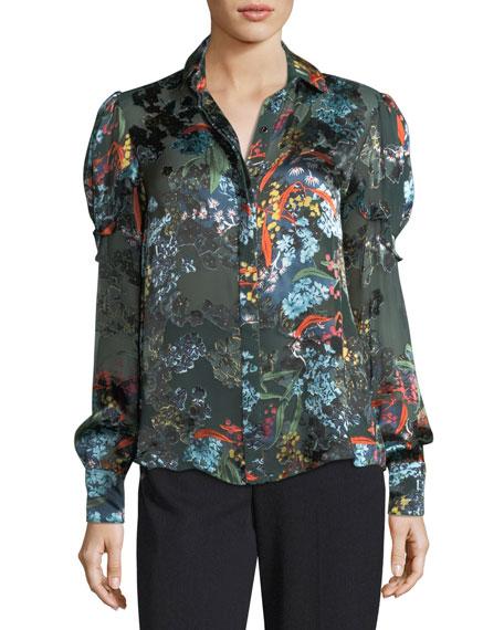 Saloni Myra Floral Devoré Silk-Blend Velvet Top