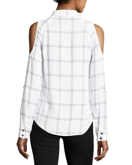 Maisie Plaid Cold-Shoulder Button-Front Top