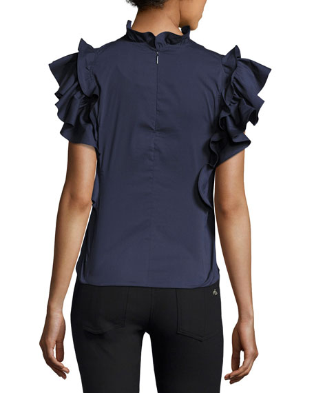 High-Neck Sateen-Embroidered Poplin Blouse with Birds