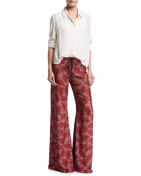 Serephine Printed Drawstring Wide-Leg Pants