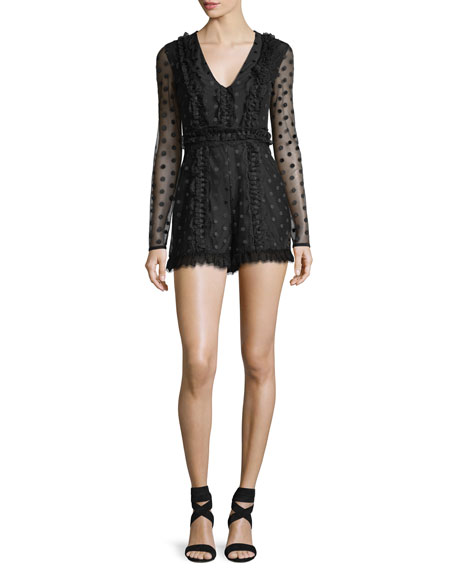 Alexis Samira V-Neck Dotted Illusion Lace Romper